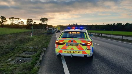 The A11 southbound carriageway was partially closed while police dealt with the incident