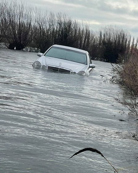 Mercedes latest car to get stuck in flooded Welney Washes