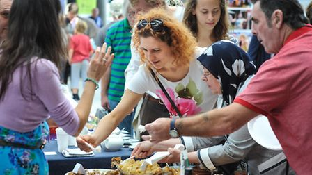 Sampling the food on the Bulgarian stand at the tenth Festival of Cultures at The Forum in Norwich.