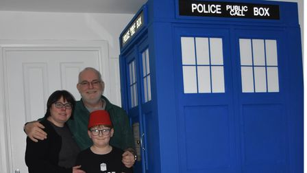 The Tucker family from Saxmundham with their Doctor Who Tardis
