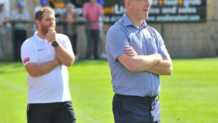Wroxham assistant manger Cedric Anselin and manager Stu Larter.Picture by SIMON FINLAY.