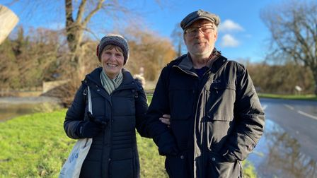 """Maryska and Barry Sumner said they had """"never seen anything like it"""" as they surveyed the aftermath of flooding in Thetford"""