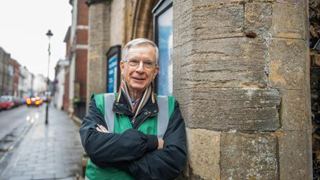 Town guide Terry O'Donoghue in front of the Guildhall. Picture: SARAH LUCY BROWN