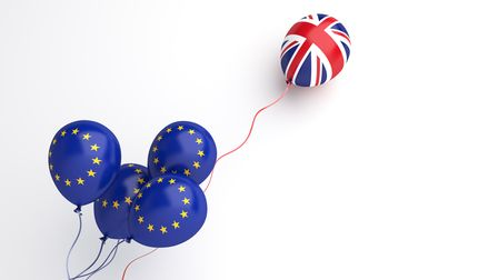 Brexit illustration creative concept, Flying balloon with European Union EU and United Kingdom UK fl