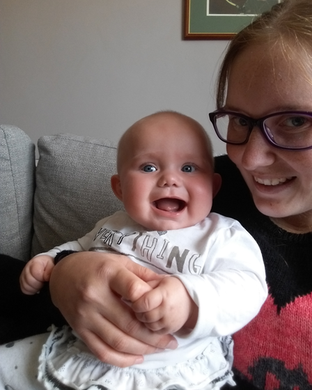 Picture of Ali and baby Florence, who attended the baby support course.