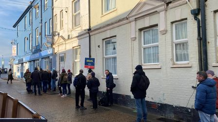 Queues outside No1 in Cromer December 29 2020