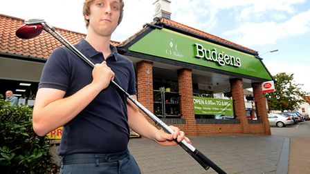 Golfer and Aylsham Budgens store worker Richard lindley who broke his back in a car crash in Decembe