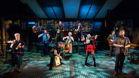 The cast in full flow for New Wolsey Theatre's production of Once which is returning to the theatre