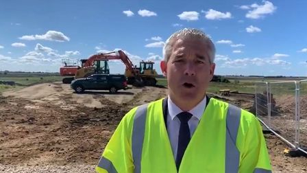 MP Steve Barclay at the historic 'spade in the ground' moment when Kings Dyke crossing project got under way. The £32m...