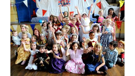Children enjoying a royal wedding children's party in the town hall in Eye in 2011