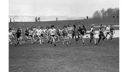 Runners taking part in Suffolk schools cross country in 1980