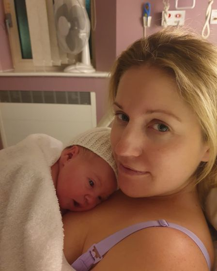 Mum Alice Logue with her third child, Cora Mae Barrett, born at Colchester Hospital on New Year's Day