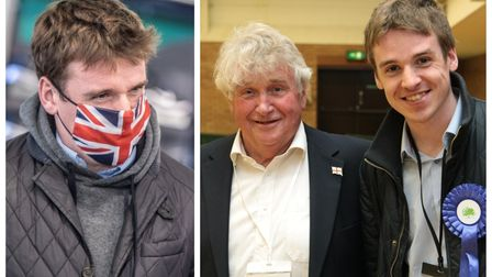 MP Tom Hunt and (right) flashback to when both stood for local elections in East Cambridgeshire. They were pictured...