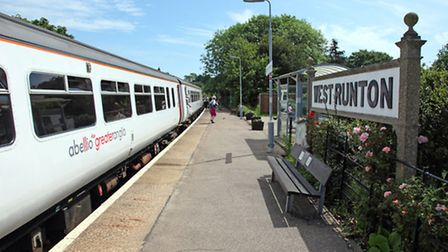 Abellio Greater Anglia 156 at West Runton station during the course of the 10.45 Norwich - Sheringha
