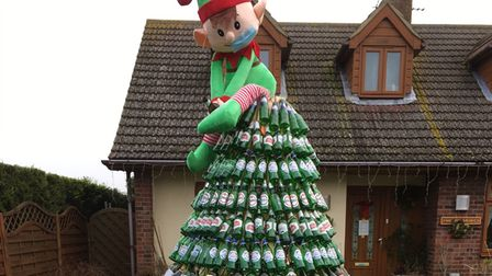 Tree made of green beer and wine bottles