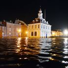 The Custom House surrounded by flood water during the December surge. Picture: Matthew Usher.