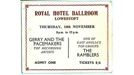 A ticket for Gerry and the Pacemakers' concert at the Royal Hotel Ballroom in Lowestoft in 1963