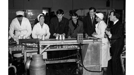 Gerry and the Pacemakersvisiting Seaman's Dairy in Knightsdale Road, Ipswich, in January 1964