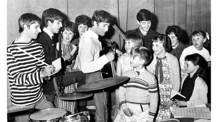 The Beatles with fans when they made their first appearance at the Gaumont Theatre, Ipswich in May 1963