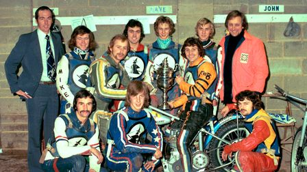 John Berry with Ipswich Witches team that won the division one trophy in 1975 and 1976.Back row fr