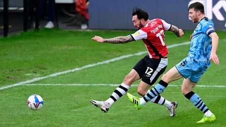 Ryan Bowman of Exeter City shoots during the Sky Bet League 2 Match between Exeter City and Forest G