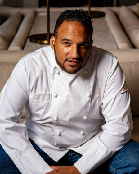 Michael Caines wearing chef's whites