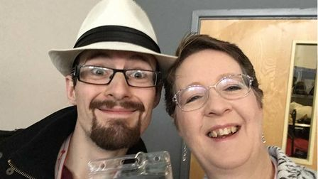 A women and man smiling