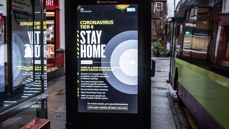 Messages to Stay Home are being displayed at bus stops around Ipswich.