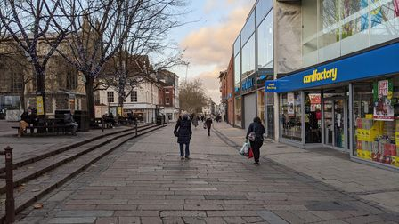 Gentleman's Walk, Norwich on the first day of the Tier 2 coronavirus restrictions. Picture: JACK MAC
