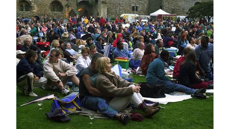 The audience that enjoyed the outdoor World Music concert, supported by the EADT, at Framlingham Castle in 2002