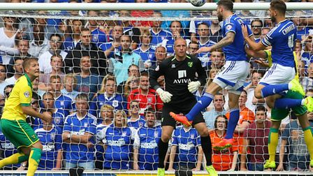 Daryl Murphy misses a golden chance for Ipswich Town in the 1-0 defeat to Norwich City. Picture by P