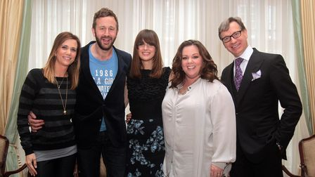 Stars of the new film Bridesmaids, from left, writer and actress Kristen Wiig, Chris O'Dowd, Rose By