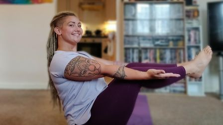 Taylor Griffin-Marsh teaching Pilates and yoga online