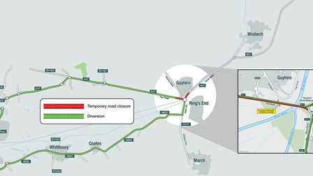 Overview of the roundabout at Guyhirn where a £16m scheme is about to get under way.