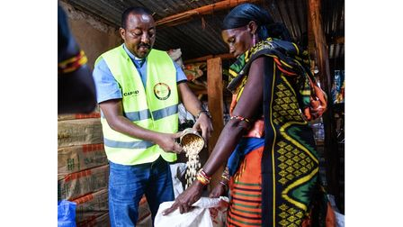 Father Racho is at a CAFOD-funded food distribution in Marsabit County, Kenya during the crisis there