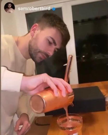 Former Love Island contestant, Sam Bird, from Norfolk, seen trying out Edmunds Cocktails.