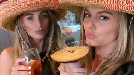 Tiffany Watson andEmily Blackwell from the Made in Chelsea cast drinkingEdmunds Cocktails.