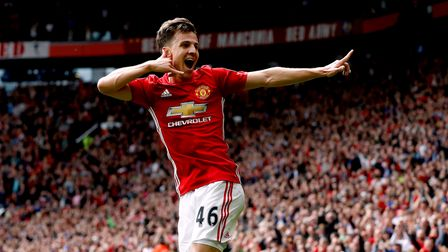 Manchester United's Josh Harrop celebrates scoring his side's first goal of the game during the Prem
