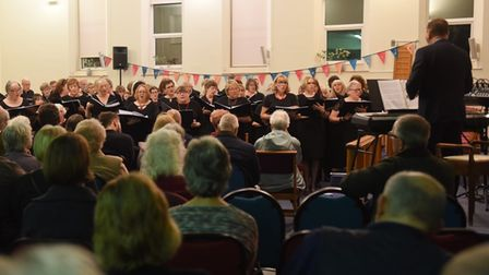 A performance by members of Discord, the wellbeing choir, in Diss in November 2019