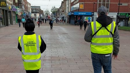 Covid marshals in the street