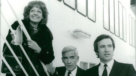 Triangle cast members Diana Coupland, Michael Craig and Larry Lamb stood on a ferry