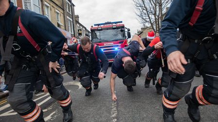We have nothing to give but blood, toil and sweat. Cambs fire fighters in charity mood in 2020.
