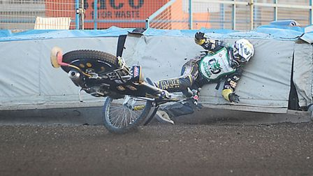 Devon Demons rider James Shanes was involved in a nasty looking crash in heat three. Picture: Ian Bu