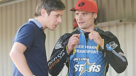 EDP sports writer Gavin Caney at the Norfolk Arena with Lewis Rose. Picture: Ian Burt
