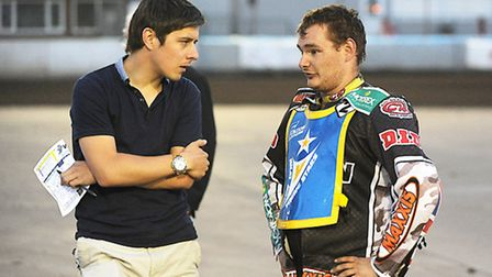 Gavin Caney chats to Young Stars racer Scott Campos. Picture: Ian Burt
