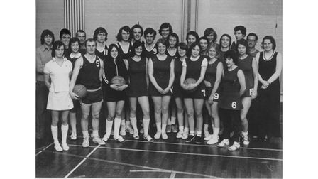 Kesgrave Basketball Club in a picture taken around 1970