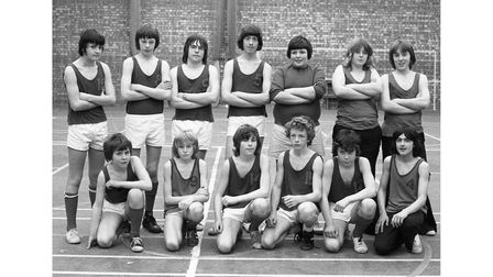 The basketball team at Orwell High School in Felixstowe in April 1976