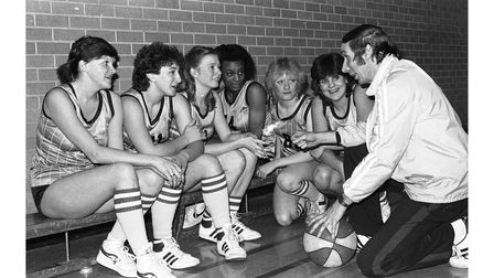The Ipswich Bobcats basketball team training in 1985
