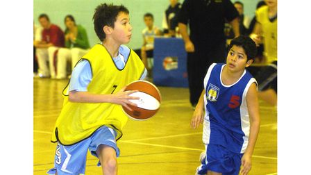 Colchester take on Great Cornard in a basketball tournament at Great Cornard Leisure Centre in 2006
