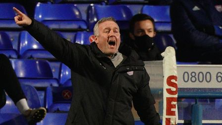 Town manager Paul Lambert animated on the touchline.